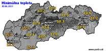 Minimálna teplota - dnes (30.06.2017)