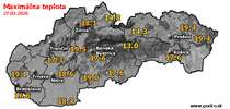 Maximálna teplota - dnes (27.03.2020)