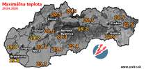 Maximálna teplota - dnes (29.04.2020)