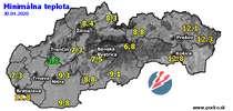 Minimálna teplota - dnes (30.04.2020)