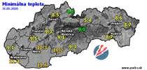 Minimálna teplota - dnes (31.05.2020)