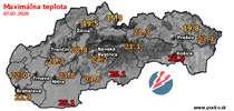 Maximálna teplota - dnes (07.07.2020)