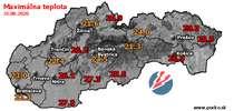 Maximálna teplota - dnes (31.08.2020)