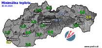 Minimálna teplota - dnes (30.10.2020)