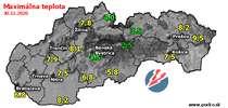 Maximálna teplota - dnes (30.12.2020)