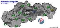 Minimálna teplota - dnes (29.12.2020)