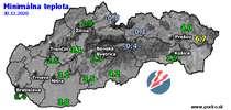 Minimálna teplota - dnes (30.12.2020)