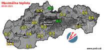 Maximálna teplota - dnes (05.03.2021)