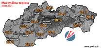Maximálna teplota - dnes (31.03.2021)
