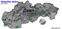 Minimálna teplota - dnes (05.03.2021)