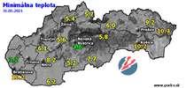 Minimálna teplota - dnes (31.05.2021)