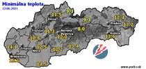 Minimálna teplota - dnes (13.06.2021)