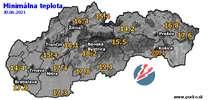 Minimálna teplota - dnes (30.06.2021)