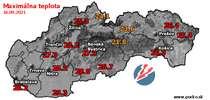 Maximálna teplota - dnes (16.09.2021)