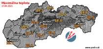Maximálna teplota - dnes (17.09.2021)