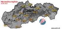 Maximálna teplota - dnes (19.09.2021)