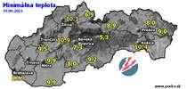 Minimálna teplota - dnes (19.09.2021)